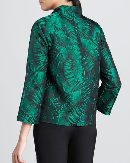 Leaf-Jacquard Jacket, Petite
