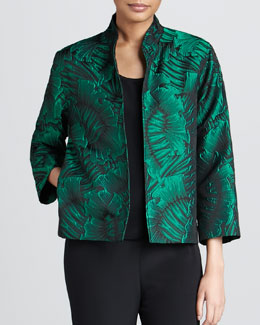 Caroline Rose Leaf-Jacquard Jacket, Petite