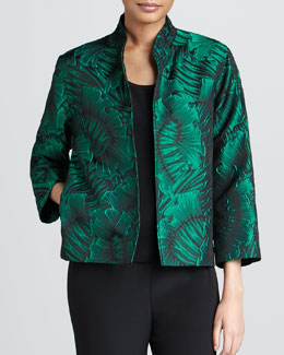 Caroline Rose Leaf-Jacquard Jacket