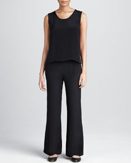 Caroline Rose Crepe Wide-Leg Pants, Women's