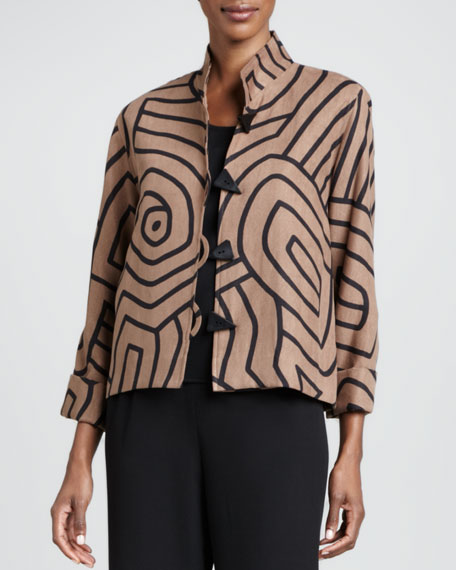 Graphic Suede Boxy Jacket, Petite