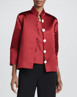 Caroline Rose Satin Pave-Button Jacket, Women's