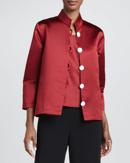Caroline Rose Satin Pave-Button Jacket