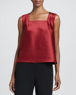 Caroline Rose Satin Square-Neck Tank, Petite