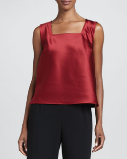 Caroline Rose Satin Square-Neck Tank