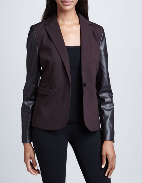 Blazer with Faux-Leather Sleeves