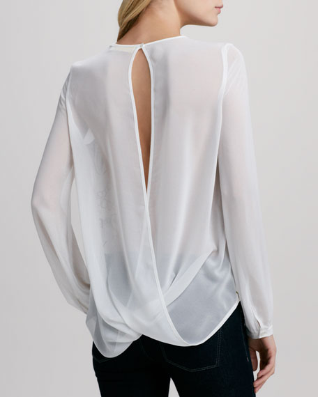 Harper Printed Sheer-Sleeve Blouse