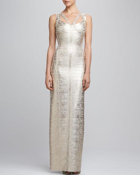 Corozo Metallic Strappy Bandage Gown