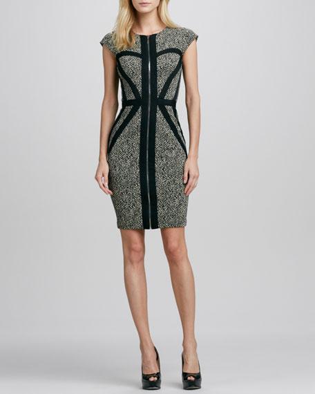 Corrine Cap-Sleeve Herringbone Dress