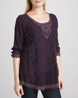 Johnny Was Collection Eyelet-Panel Tunic