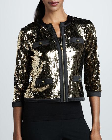 Sequined Zip-Front Jacket, Petite