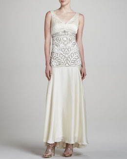 Sue Wong V-Neck Sleeveless Embellished Gown