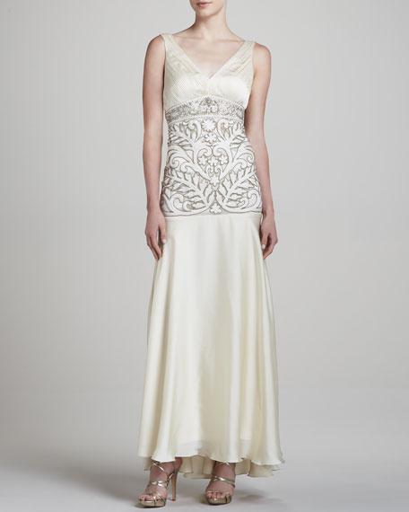 V-Neck Sleeveless Embellished Gown