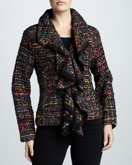 Berek Ruffled Tweed Harmony Jacket, Petite