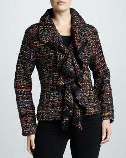 Berek Ruffled Tweed Harmony Jacket, Women's