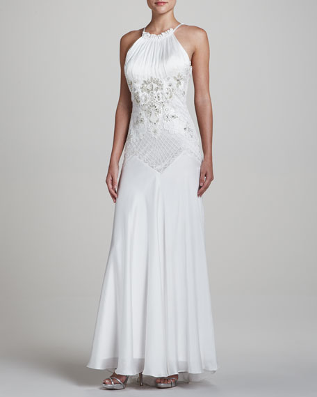 Sleeveless Halter Gown with Passementerie