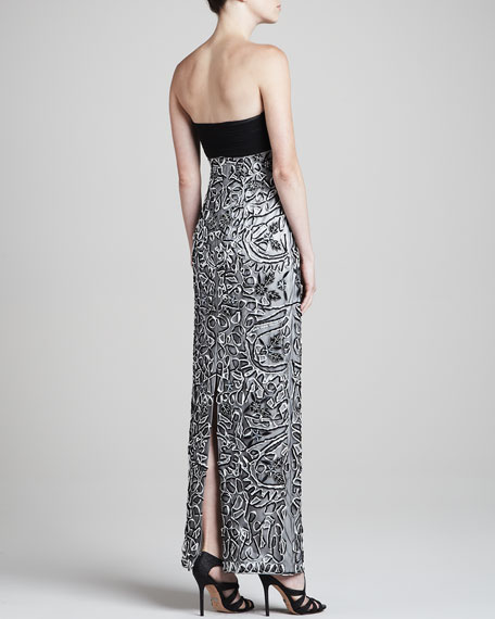 Strapless Gown with Allover Embellishment
