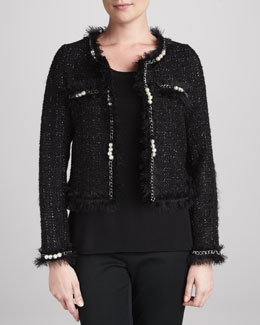 Michael Simon Glam Tweed Jacket with Faux Pearls, Petite
