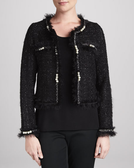 Glam Tweed Jacket with Faux Pearls, Petite