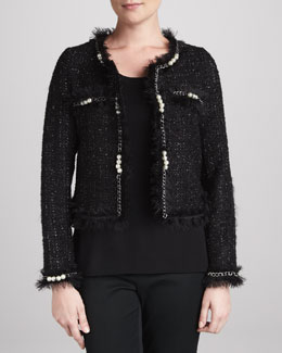 Michael Simon Glam Tweed Jacket with Faux Pearls, Women's