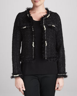 Michael Simon Glam Tweed Jacket with Faux Pearls