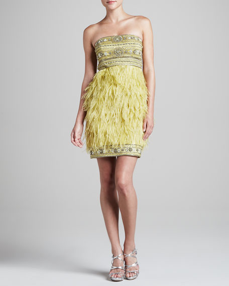 Strapless Feather Dress with Beading, Mint