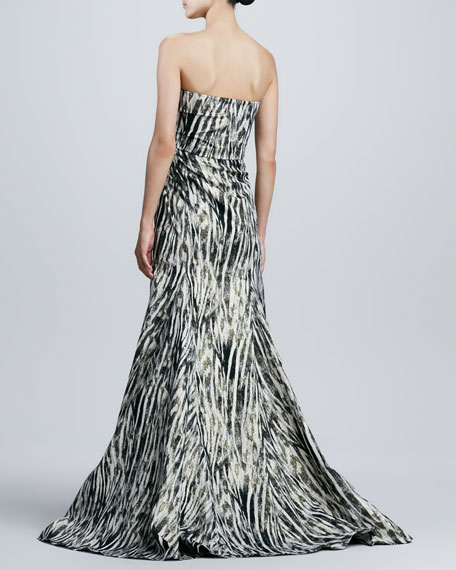 Badgley Mischka Strapless Animal-Print Trumpet Gown