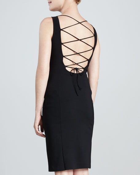 Arcangela Lace-Up-Back Cocktail Dress