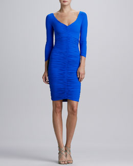 La Petite Robe by Chiara Boni Bridgette 3/4-Sleeve V-Neck Ruched Cocktail Dress, Cobalt