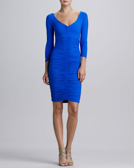 Bridgette 3/4-Sleeve V-Neck Ruched Cocktail Dress, Cobalt
