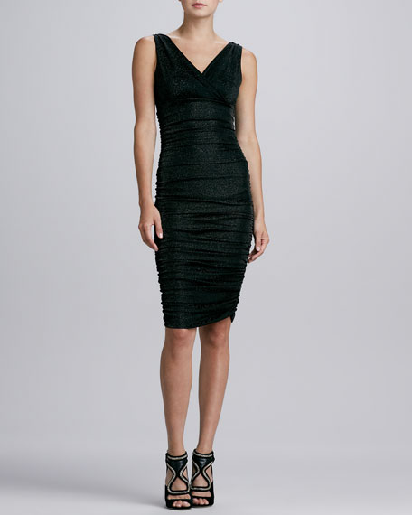 Liliana V-Neck Ruched Metallic Cocktail Dress