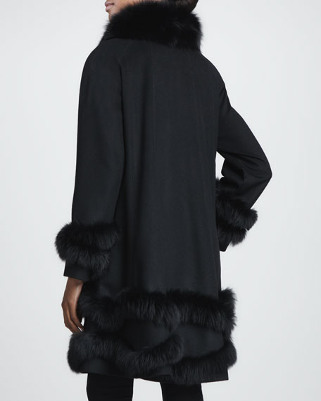 Cashmere Fur-Trim Stroller Coat