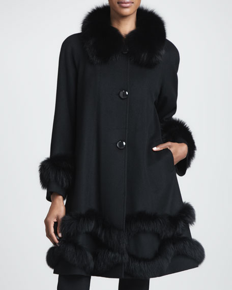 Cashmere Fur-Trim Stroller Coat