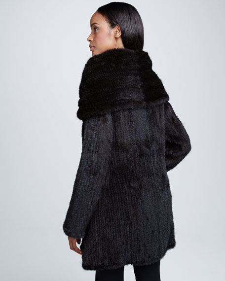 Mink Oversized-Collar Coat
