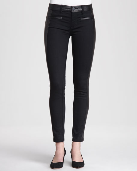 Harlow Leather-Trimmed Biker Jeans