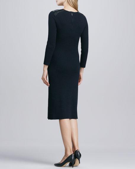 Courtney Leather-Shoulder Dress