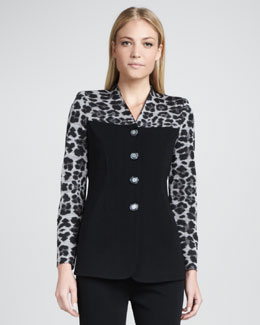 Misook Animal-Mix Printed Jacket, Petite