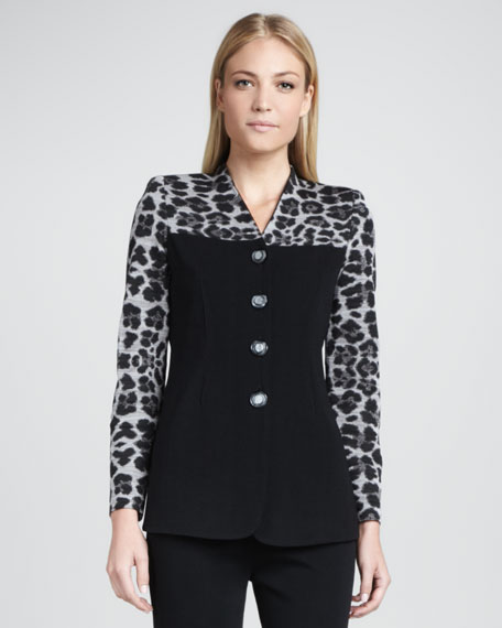 Animal-Mix Printed Jacket, Petite