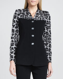 Misook Animal-Mix Printed Jacket
