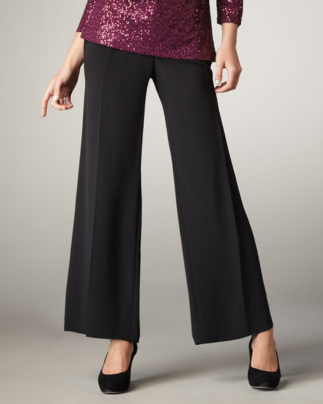 Crepe-de-Chine Wide-Leg Pants