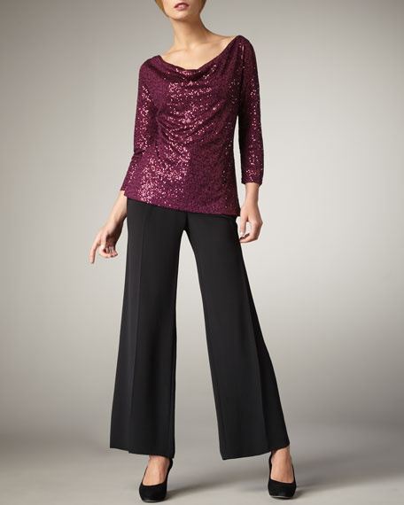 Crepe-de-Chine Wide-Leg Pants, Petite
