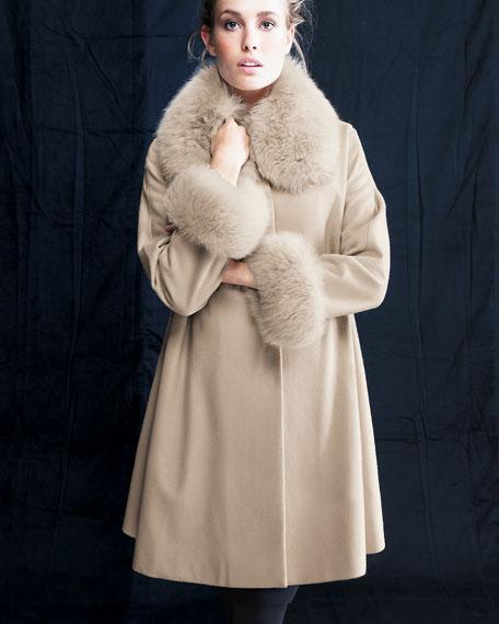 Belle Fare Cape Coat with Fox Collar and Cuff