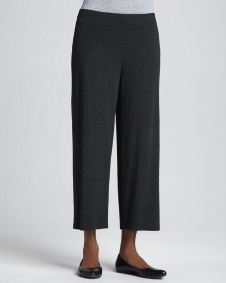 Washable-Crepe Cropped Pants, Women's