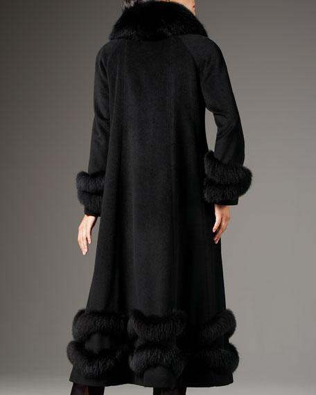 Fox-Trim Ankle-Length Coat