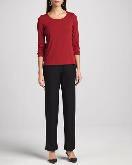 Washable-Crepe Straight-Leg Pants, Women's