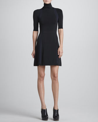 Manivet Open-Back Turtleneck Dress