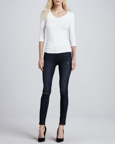 Paige Denim Skyline Ankle Peg Voyage Destroyed Skinny Jeans