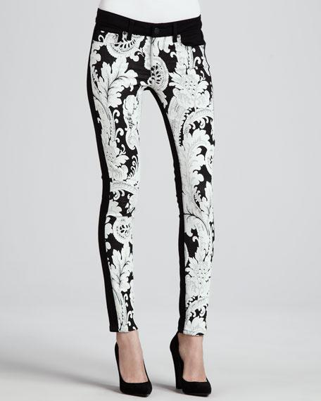Emily Needlepoint-Print Ultra Skinny Jeans