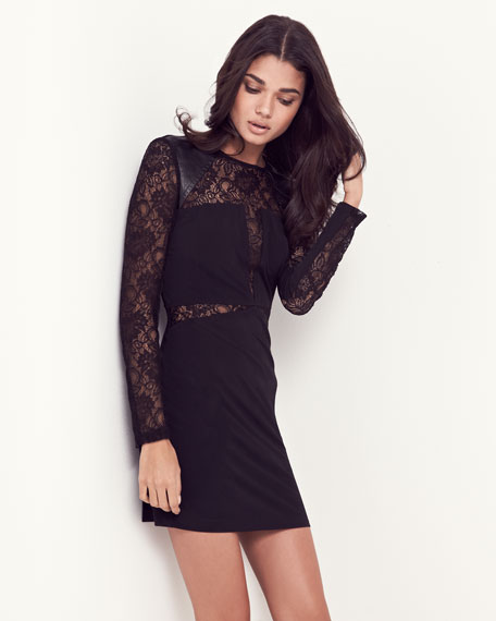 Lace-Inset Jersey Dress