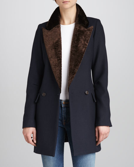 Faux-Fur-Collar Felt Coat